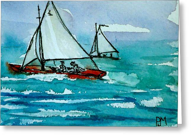 Sailboat Ocean Greeting Cards - The Race Greeting Card by Pete Maier