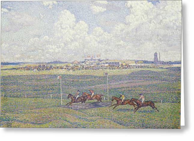 Turf Greeting Cards - The Racecourse at Boulogne-sur-Mer Greeting Card by Theo van Rysselberghe