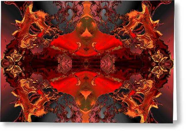Colorful Abstract Algorithmic Contemporary Greeting Cards - The radiance of his majesty Greeting Card by Claude McCoy