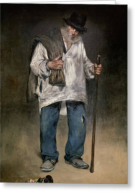 Walking Stick Greeting Cards - The Ragman Greeting Card by Edouard Manet