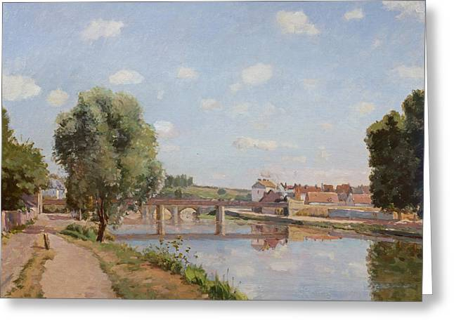 Rural Landscapes Greeting Cards - The Railway Bridge Greeting Card by Camille Pissarro