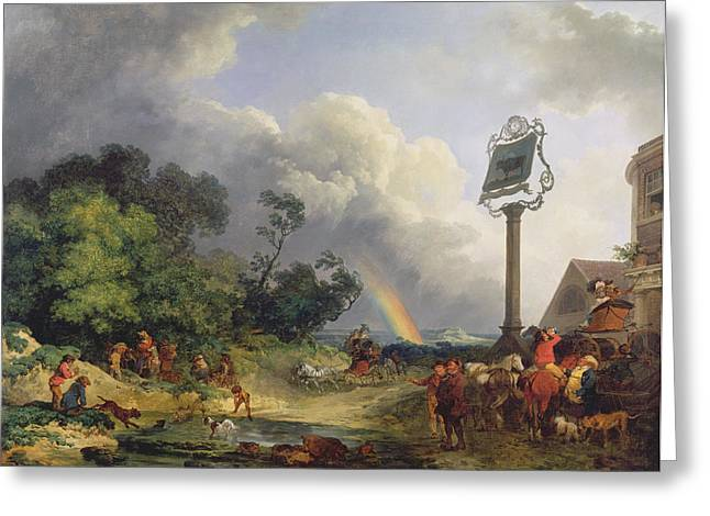 Public House Greeting Cards - The Rainbow Greeting Card by Philip James de Loutherbourg