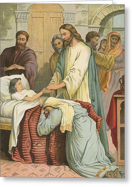 Child Jesus Greeting Cards - The Raising of Jairus Daughter Greeting Card by English School