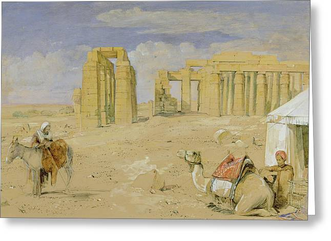 Charcoal Photographs Greeting Cards - The Ramesseum at Thebes Greeting Card by John Frederick Lewis