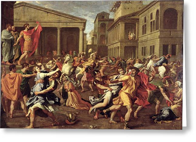 Grab Greeting Cards - The Rape of the Sabines Greeting Card by Nicolas Poussin