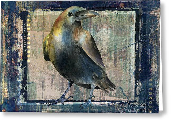 Crow Mixed Media Greeting Cards - The Raven Greeting Card by Arline Wagner