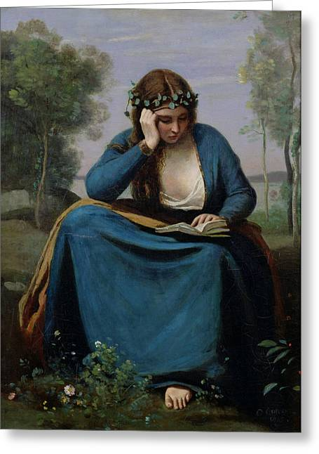 Add Greeting Cards - The Reader Crowned with Flowers Greeting Card by Jean Baptiste Camille Corot