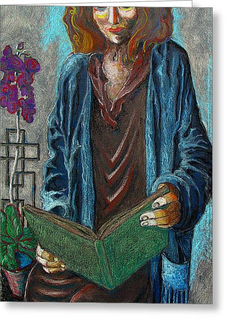 Concentration Pastels Greeting Cards - The Reader Greeting Card by James Browneagle Niemi