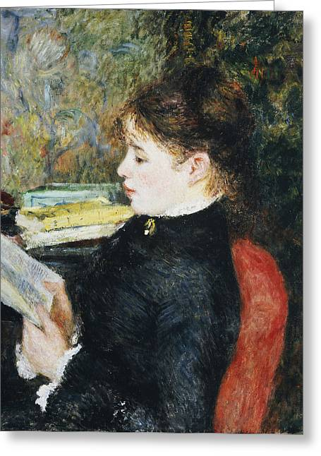 Alone Paintings Greeting Cards - The Reader Greeting Card by Pierre Auguste Renoir