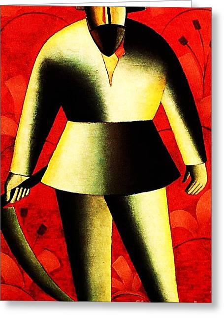 Malevich Greeting Cards - The Reaper On Red Greeting Card by Pg Reproductions
