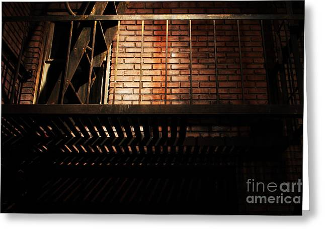 Alley Stairs Greeting Cards - The Rear Window - 7D17463 Greeting Card by Wingsdomain Art and Photography