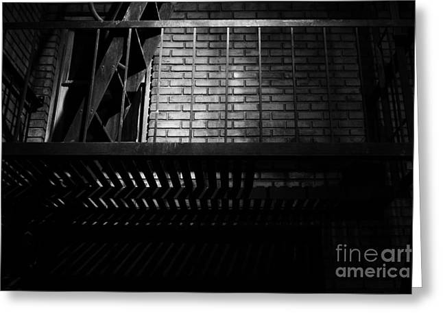 Alley Stairs Greeting Cards - The Rear Window - BW - 7D17463 Greeting Card by Wingsdomain Art and Photography