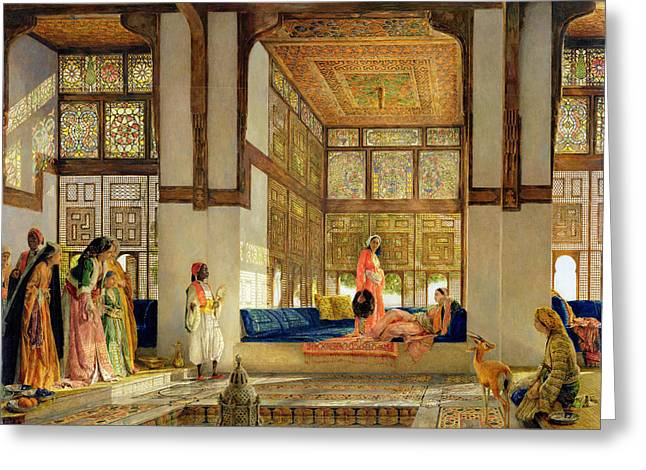Seraglio Paintings Greeting Cards - The Reception Greeting Card by John Frederick Lewis