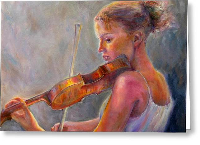 Playing Musical Instruments Greeting Cards - The Recital Greeting Card by Bonnie Goedecke