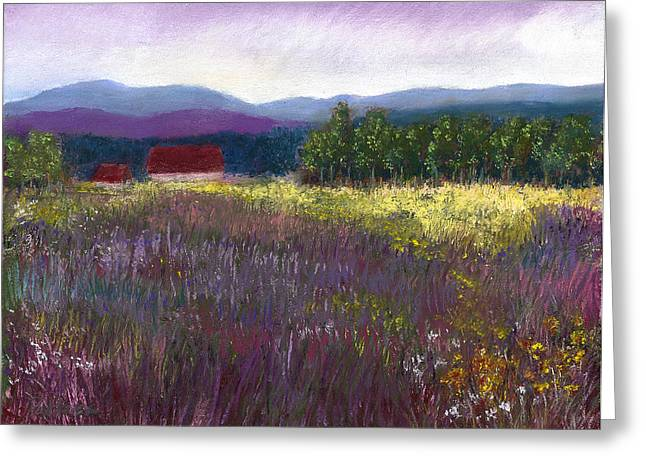 David Pastels Greeting Cards - The Red Barn Greeting Card by David Patterson