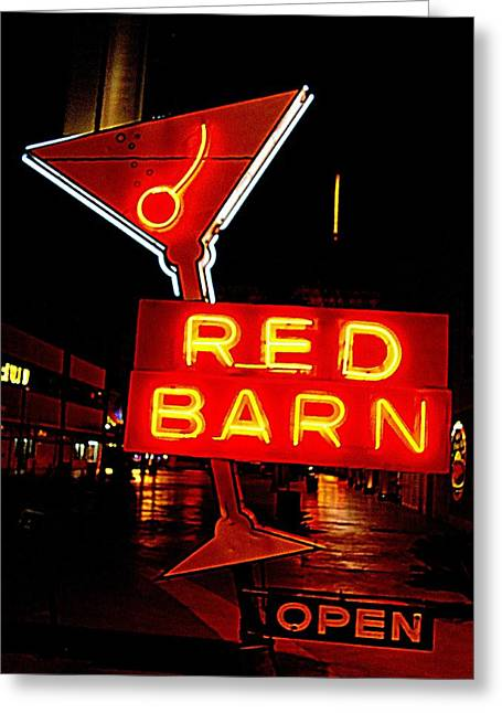 Glitter Gulch Greeting Cards - The Red Barn Greeting Card by Randall Weidner