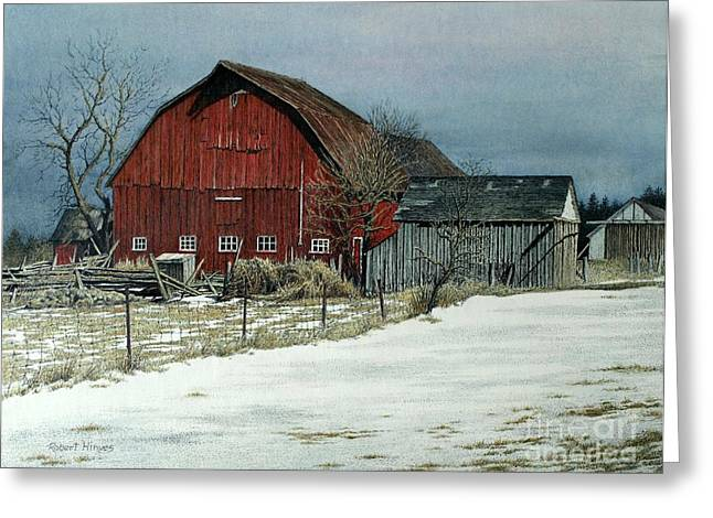 The Red Barn Greeting Card by Robert Hinves