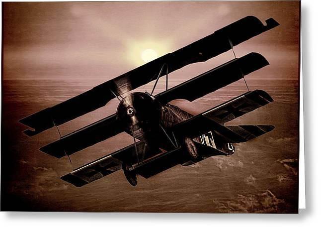 Wwi Digital Art Greeting Cards - The Red Barons Fokker at Sunset Greeting Card by Chris Lord