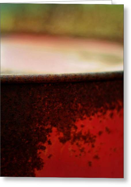 Rusted Barrels Greeting Cards - The Red Barrel Greeting Card by Rebecca Sherman