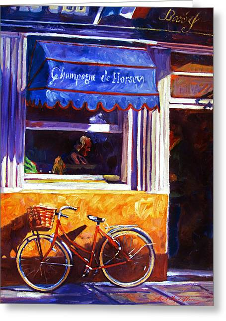 Bistro Paintings Greeting Cards - The Red Bicycle Greeting Card by David Lloyd Glover