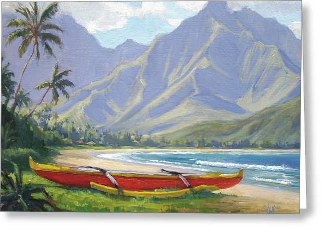 Tropical Trees Greeting Cards - The Red Canoe Greeting Card by Jenifer Prince