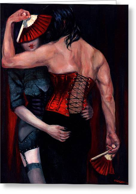 Raven Haired Greeting Cards - THE RED CORSET - study Greeting Card by Rose Adare