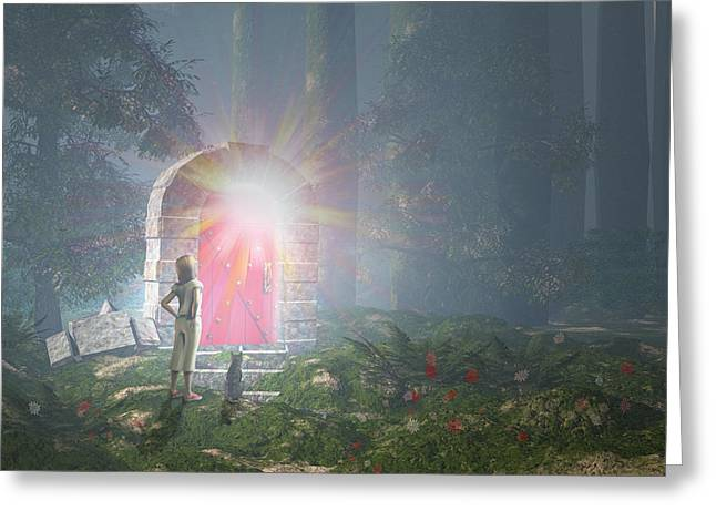"""""""strange Trees"""" Greeting Cards - The Red Door Greeting Card by Carol and Mike Werner"""