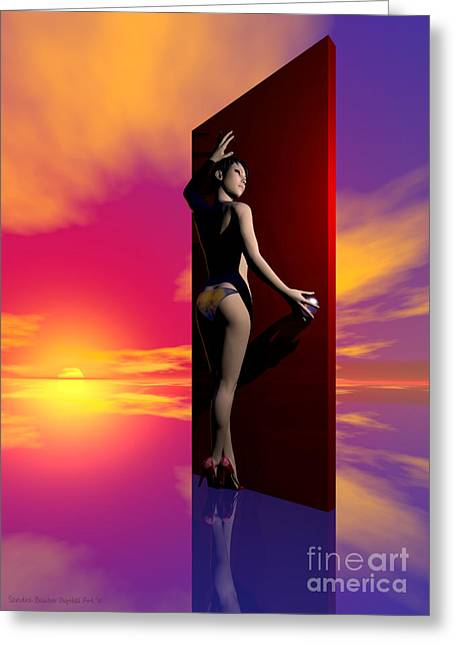 Paint It Greeting Cards - The Red Door Greeting Card by Sandra Bauser Digital Art