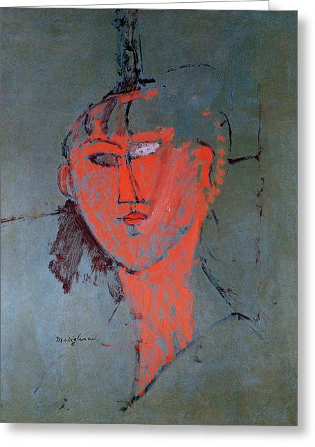 1884 (oil On Canvas) Greeting Cards - The Red Head Greeting Card by Amedeo Modigliani