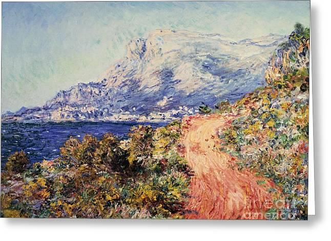 Deep Blue Sea Greeting Cards - The Red Road near Menton Greeting Card by Claude Monet