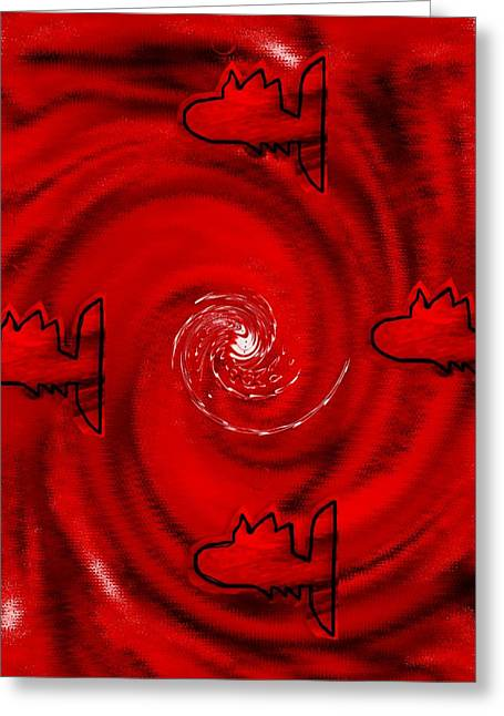 Decorative Fish Mixed Media Greeting Cards - The Red Sea Greeting Card by Pepita Selles