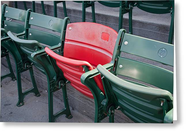 Boston Red Sox Greeting Cards - The Red Seat Greeting Card by Joseph Maldonado