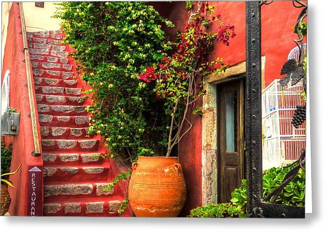 The Red Staircase Greeting Card by Michael Garyet