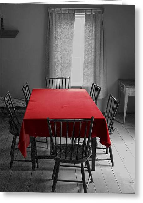 Table And Chairs Greeting Cards - The Red Table Cloth Greeting Card by Randall Nyhof