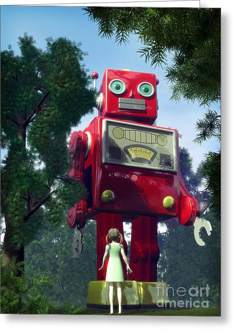 Giant Robot Greeting Cards - The Red Tin Robot and the Little Girl Greeting Card by Luca Oleastri