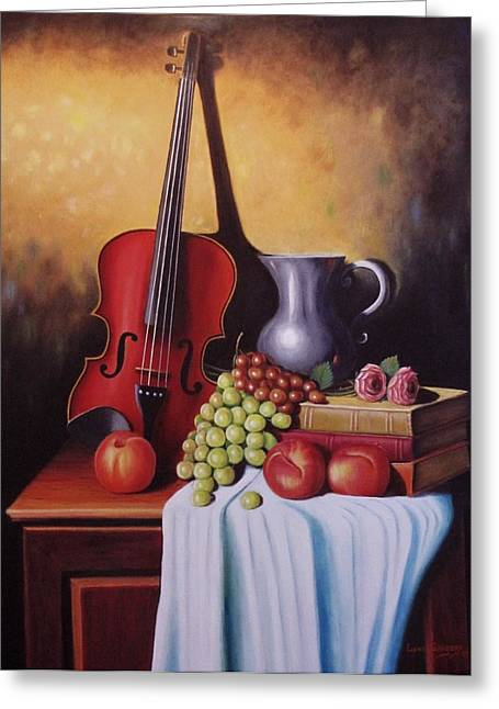 Etc. Paintings Greeting Cards - The Red Violin Greeting Card by Gene Gregory