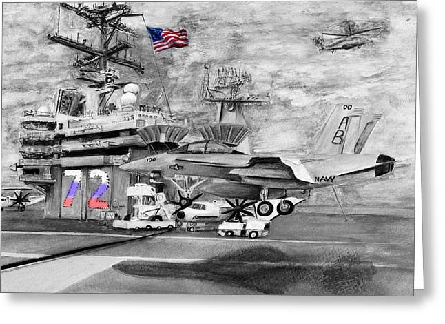 Carrier Drawings Greeting Cards - The Red White and Blue of the USS Abraham Lincoln Greeting Card by Sarah Howland-Ludwig