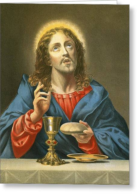 Chalice Greeting Cards - The Redeemer Greeting Card by Carlo Dolci