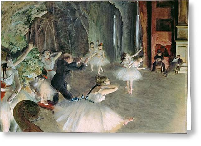 Degas; Edgar (1834-1917) Greeting Cards - The Rehearsal of the Ballet on Stage Greeting Card by Edgar Degas