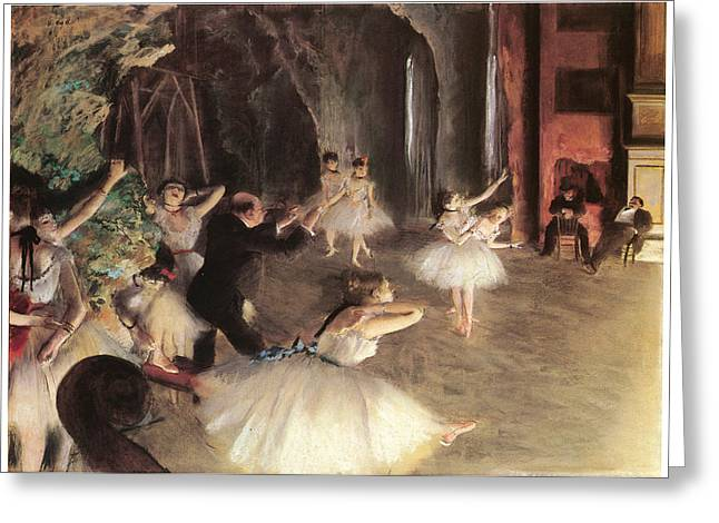 Dancer Rehearsal Greeting Cards - The Rehearsal on the Stage Greeting Card by Edgar Degas