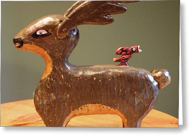 """""""folk Art"""" Sculptures Greeting Cards - The Reindeer and the Cardinal Greeting Card by James Neill"""