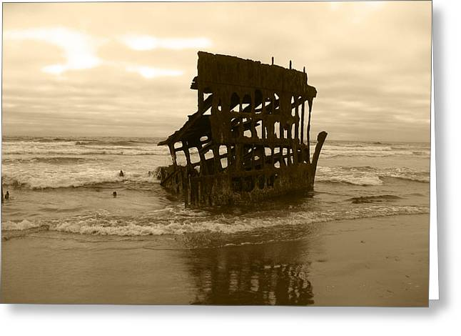 The Remains Of A Ship Greeting Card by Kym Backland
