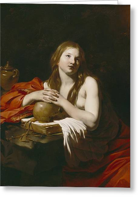 Magdalene Greeting Cards - The Repentant Magdalene Greeting Card by Nicolas Regnier