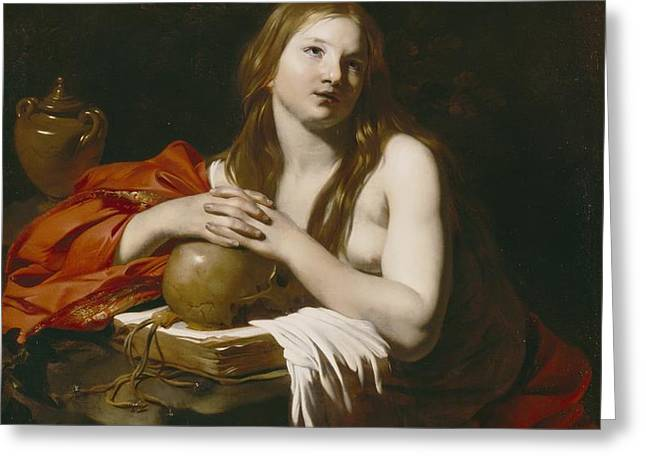The Repentant Magdalene Greeting Card by Nicolas Regnier