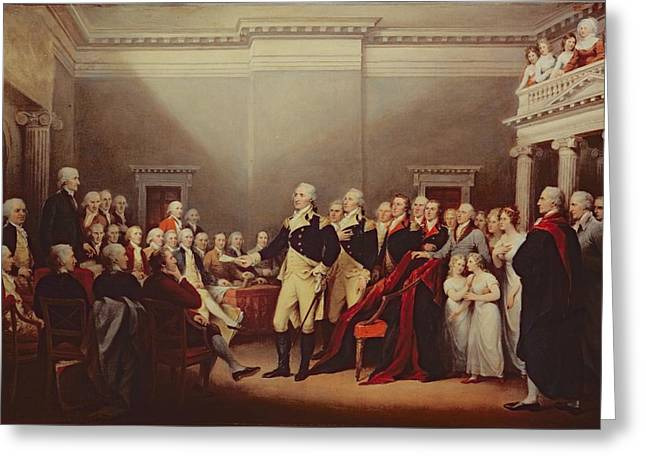 1843 Greeting Cards - The Resignation of George Washington Greeting Card by John Trumbull