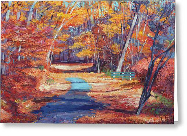 Park Benches Paintings Greeting Cards - The Resting Place Greeting Card by David Lloyd Glover