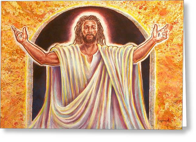 Jesus Canvas Greeting Cards - The Resurrection and the Life Greeting Card by Raymond Walker