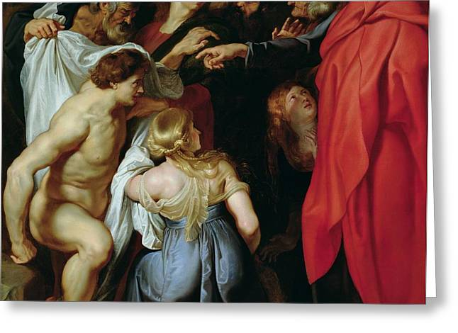 The Resurrection of Lazarus Greeting Card by Rubens