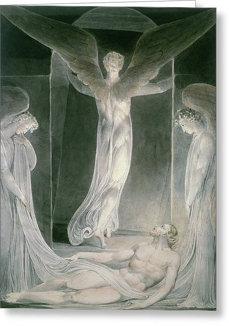 Resurrected Lord Greeting Cards - The Resurrection Greeting Card by William Blake