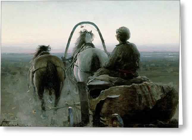 The Horse Greeting Cards - The Return Journey Greeting Card by Abram Efimovich Arkhipov